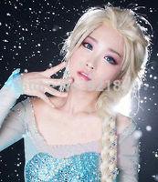 FROZEN Princess Snow Queen Elsa Adult Milk Golden Braid Cosplay Wig Long  no Lace Front made Kanekalon synthetic fibre wigs