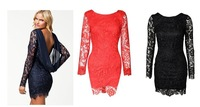 2014 new lace chiffon long sleeve dress European hot fashion explosion Sexy Backless Black Red Wedding dress