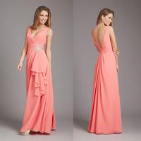 Charming V-neck Open Back A-line Chiffon Peach Colored Bridesmaid Dresses E42