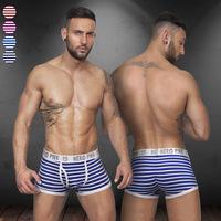 Underwear Boxers Factory Direct Wholesale ! Men's Fashion Underwear Striped Sexy Boxer Bikini Cueca 12 PCS / lot Free Shippping