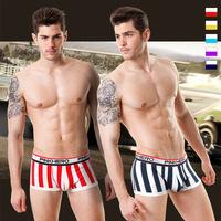 Wholesale Mens Underwears Sporty Striped Boxer Shorts Underpant RacingSeries Cotton Men's Boxer Sexy bikini  Free Shipping