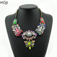 Fashion Brand Jewelry Necklace 2014 Shourouk Rainbow Colar Flower Stone Necklaces & Pendants For Women Statement Choker Luxury