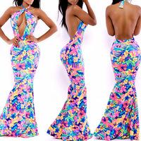 New 2014 women summer sexy halter top deep V-neck backless off the shoulder party dress casual dress beachwear vestidos SJ6030