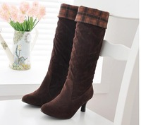 Hot sala 2014 new fashion ladies stiletto high heel boots black brown sexy women knee high long women boots autumn