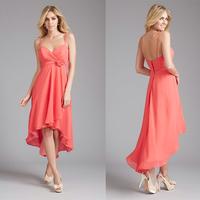 Charming Sweetheart Spaghetti Straps High Low Blush Pink Bridesmaid Dresses E44