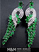 Luxury AAA Cubic Zirconia Emerald Green Zircon Stone Long Drop Earrings Fashion Bridal Wedding Dinner Party Accessories