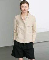 2014 New Autumn Brand  Women Straight Casual Linen Jacket Coat,Ladies Double Pockets Zipper Long Sleeve Loose Outerwear w106