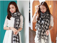 Bohemian style Wholesale Scarf classic black and white houndstooth pattern Muffler Women Scarves,10pcs/lot