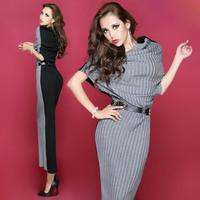 Free shipping new 2014 autumn women long dress knitting Bat sleeve fashion casual dress vestido longo