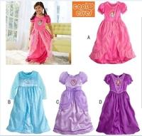 Forzen sleeved princess dress snow lovely girl dress   Elsa Anna  Dresses Children's Clothing