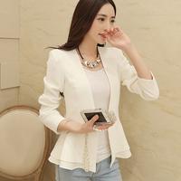 2014 new small suit jacket women jacket / short-sleeved coat flounced small suit jacket Slim