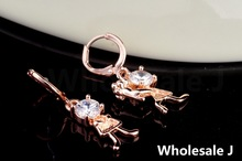 Propose Marriage Style With White Big Shining Stone Lovely Earrings Fashion Shipping Gold Plated Hot Item