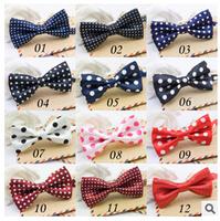 Fashion Polka Dot Bow Tie Korean Baby Boy Polyester Bow Tie Toddler Bowties Self Tie Bowtie Size 9cm*4.5cm Bowties For Kids