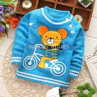 New 2014 Children Sweater Cartoon Bear Boys' Sweater Baby Girl Long Sleeve Pullovers Kids Fall Sweater Child Fall Outerwear