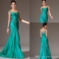 Best Seller Mermaid V-neck Floor Length Turquoise Chiffon Cap Sleeve Prom Dresses Beaded Pleats Discount Prom Gowns Formal