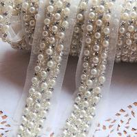 Elegant White Fake Pearl w/ Czech Diamond Lace Gauze Trim 2cm Wide DIY Craft - Free Shipping