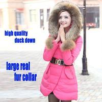 2014 Winter winter jacket women plus size down coat medium-long large real Raccoon fur collar down jacket women parka