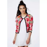 2014 New Autumn Women Countryside Wind Red Flower Prints Long Sleeve Jacket Coat,Ladies O-Neck Cardigan Short Outerwear w113