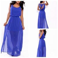 2014 Autumn Sleeveless Vestidos Sexy Club Women Summer Casual Bodycon Dress Blue Sheer Draped Geometric Party Maxi Dress