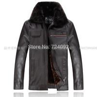 PU coffee winter leather jacket men casual black jaqueta de couro masculina L-6XL SIZE mens motorcycle jacket BW5