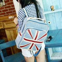 women bag denim stripe flag backpack men's travel bags canvas school bags