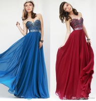Hot Selling Fashion Sexy 2014 Hot Sales Prom Dresses Beaded Sweetheart A-Line Custom Made Long Chiffon Formal Evening Gowns