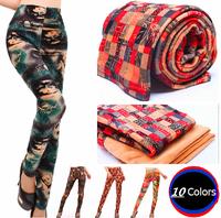 2014 New Autumn Winter Leggings Thick Super Soft Velvet Ankle Length Female Trousers Print Pants Plus Size legging for Woman
