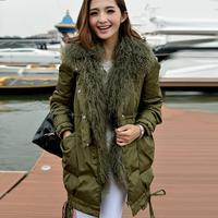 Winter down jacket loose medium-long real sheep fur  winter coat women overcoat thickening winter outerwear