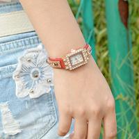 New fashion Korea velvet belt Multicolor set auger women watch elegant Watches