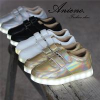 2014 new brand fashion gold silver kids LED light shoe children sneaker running shoe for toddler girl boy sapato infantil menina