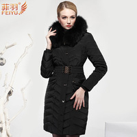 2014 Luxury Autumn Winter New Women Thickening Warm Fur collar Hooded Down jacket Mid Long Slim Cold hardiness Coats Parka