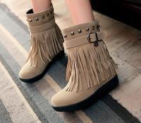 Hot 2014 new fashion winter vintage women shoes Ankle Fringe Tassels women flats designer ladies rivets bukle women boots autumn