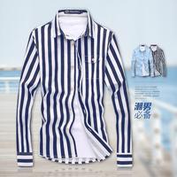 2014 Autumn Fashion Striped Long Sleeve Shirts Men Dress Shirt  Dark Blue Light Blue Freeship