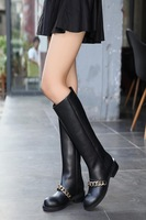 2014 new fashion brand women boots with chain, black long flexible microfiber stocking, genuine leather  808-80