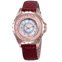 SKONE flow diamond brand Ms leather rose gold watch Fashion watches