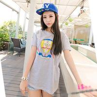 2014 summer new women long wild loose short-sleeved women's striped cartoon printed T shirt