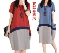 2015 summer big yards women's linen clothing contrast color stitching cotton summer loose casual dress summer