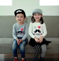 2014 children qiu dong season T-shirt, beard design, children's clothing, the original factory wholesale, free shipping