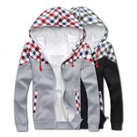 2014 new autumn fashion men's plaid hoodies men hooded pullover slim warm thick fleece hoodie sweatshirts men coats,outwears