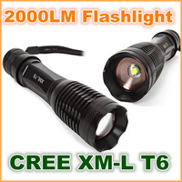 NEW UltraFire Portable CREE XM-L T6 2000LM LED Flashlight Zoomable Torch lamph for Camping, trekking, hunting, fishing