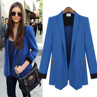 new 2014 autumn winter woman lady blazers suit patchwork solid long sleeve casual plus size pocket work wear fashion linen S~XL