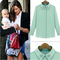 new 2014 woman summer autumn casual solid Nail bead OL chiffon blouse top long sleeve tee t shirt lady work wear blusas S~XL