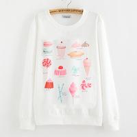 2014 Winter student fashion T shirt loose large size printing  cute cream printed  sweatshirt women hoodies