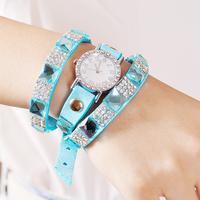 New fashion Multicolor South Korea velvet belt women watch 3 circle elegant Watches  zL