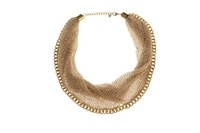 T14091303, 5pcs/lot, New Handmade Cheap Fashion Women Gold Mesh Chain Lock Wire Braided Choker Short Necklace, Free Shipping
