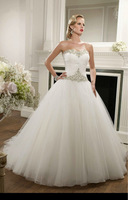 Free Shipping In Stock Sweetheart Organza Wedding Dress with Appliques and Beads Custom size/color