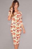 2014 New Arrival Women's Casual V Back Half Sleeves Floral Midi Dress Girl Ethnic Print Summer 06559 Free Ship vestido de festa