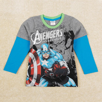 FREE SHIPPING 2014 Nova Brand Clothing Printed Avengers Assemble Baby Boys Outwear Long Sleeve Patchwork T-shirts Top Tees A5345