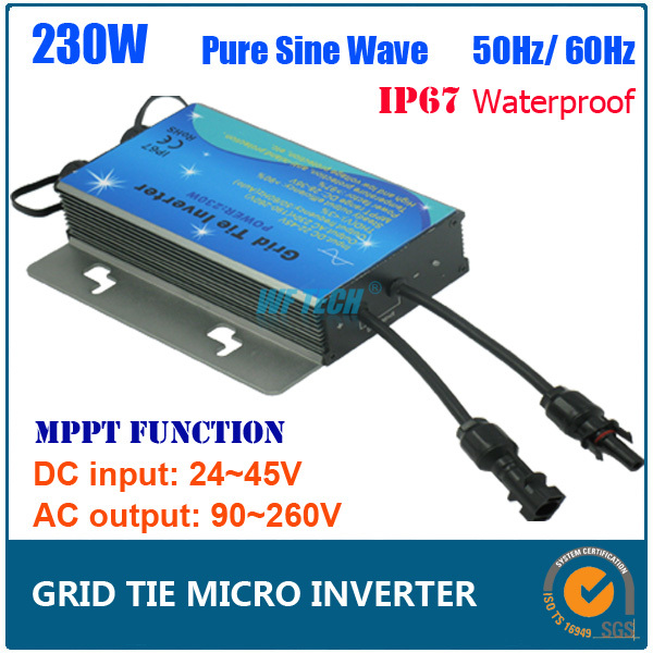 New Design! Micro Grid Tie Solar Inverter 230W Pure Sine Wave Solar Inverter, DC24-45V MPPT Grid Tie Power Inverter(China (Mainland))