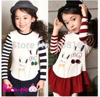 hot spring autumn children clothes baby girls rabbit  stripe long sleeve t-shirt kids fold t shirts clothing